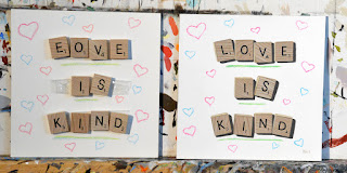 Scrabble board game tile painting love is kind by Kim Testone trompe l'oeil