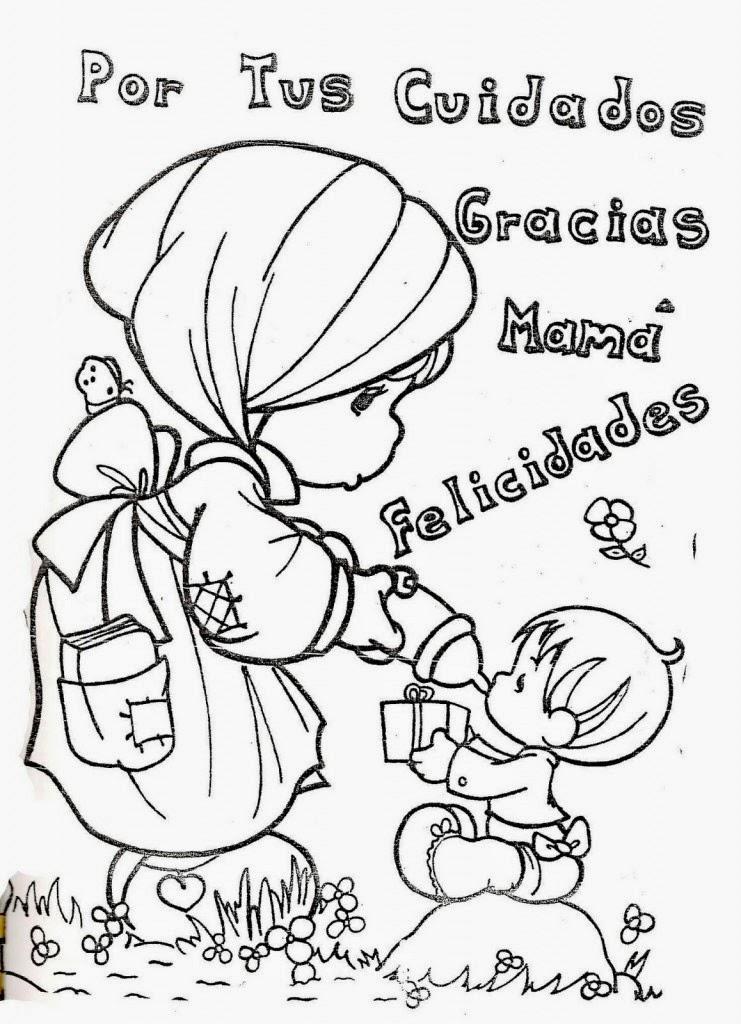 Dibujo De Preciosos Momentos Y Un Mensaje Para Mama Para Colorear Y