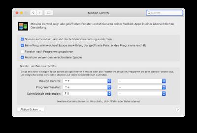 Mission Control von MacOS mit aktivierten Haken wie im Text beschrieben.