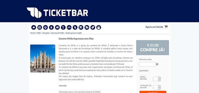 Ticketbar para ingressos para o Duomo de Milão sem filas