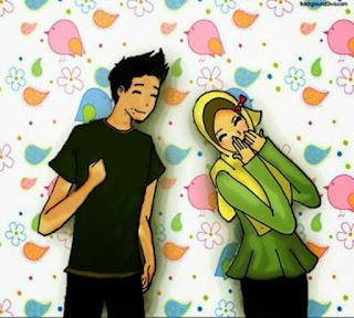 gambar kartun pasangan remaja muslim dan muslimah