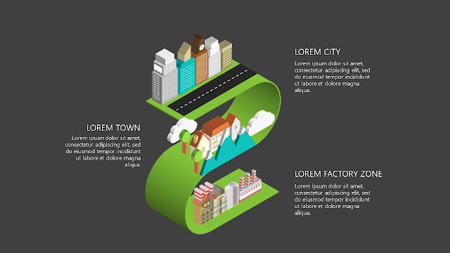 Free Infographic Powerpoint templates with Isometric City