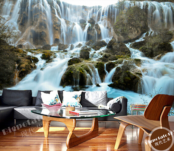 Scenic Wall Murals 3D Water Fall Landscape Nature Photo Wallpaper Bedroom Wall Murals Livingroom