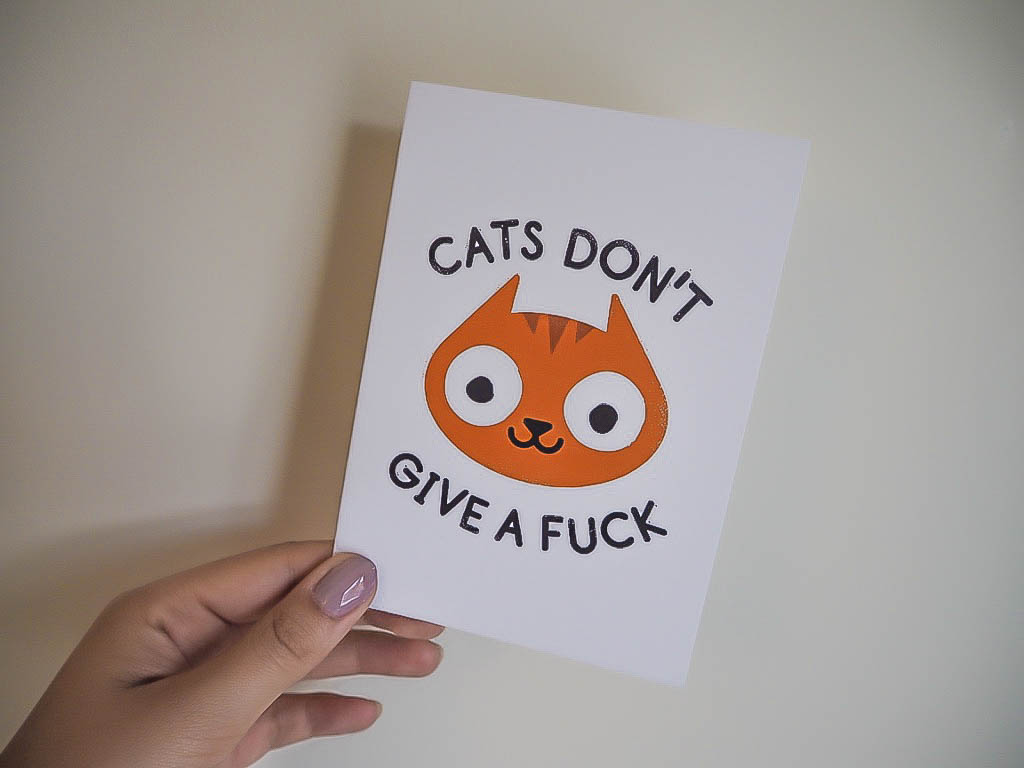 Cats don't give a fuck greetings card
