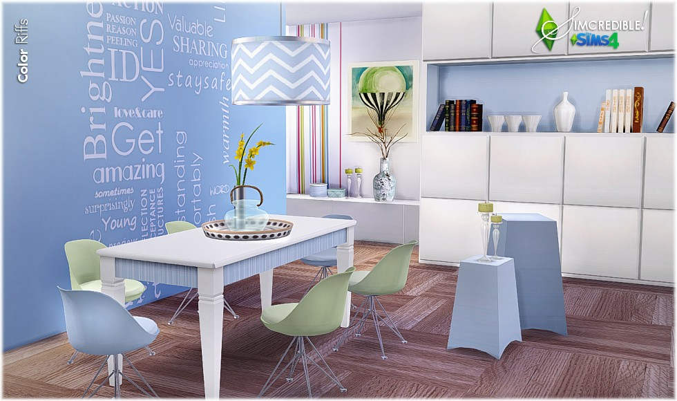 My sims 4 blog color riffs dining set by simcredible for Sims 3 dining room ideas