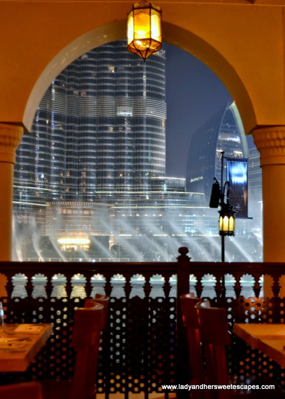 view of Dubai Fountain at Serafina in Souk Al Bahar Dubai