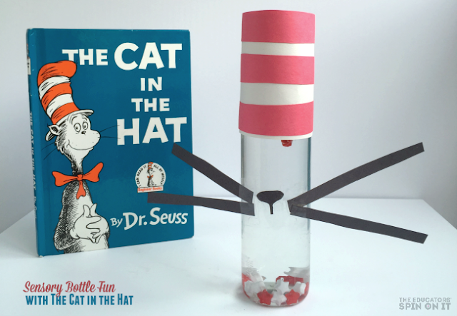 Create a Hands-On Activity Inspired by The Cat in the Hat by Dr. Seuss. A Sensory Bottle experience for all ages!