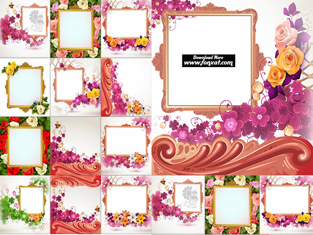 Download set of vector images and decorative frames floral background - Background With Baroque Decoration Flowers