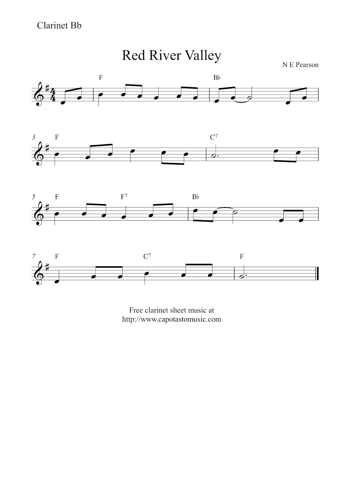 Free Printable Sheet Music Free Easy Clarinet Sheet Music Red River Valley