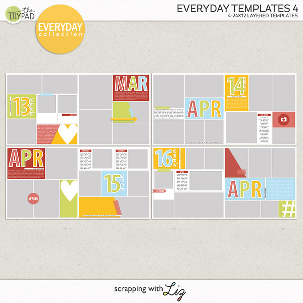 Everyday Templates 4: Pocket Style Digital Scrapbook Templates