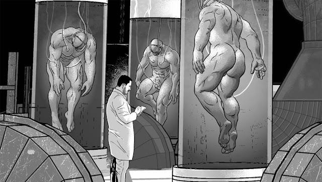 Male muscle growth art