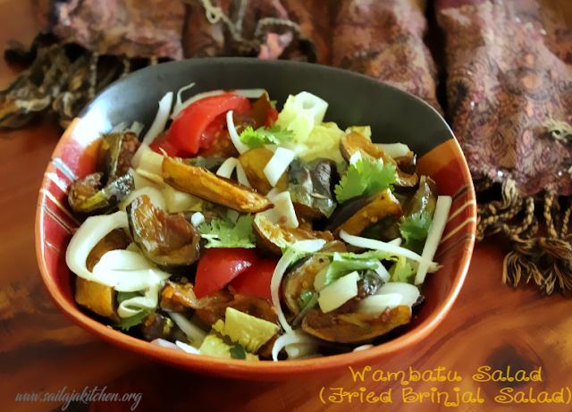 images of Wambatu Salad / Eggplant Salad / Fried Brinjal Salad / Sri lankan Eggplant Salad