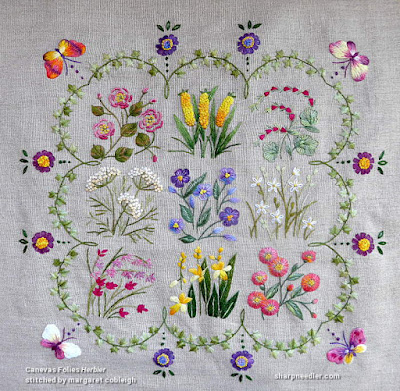 Completed surface embroidery project Herbier from Canevas Folies