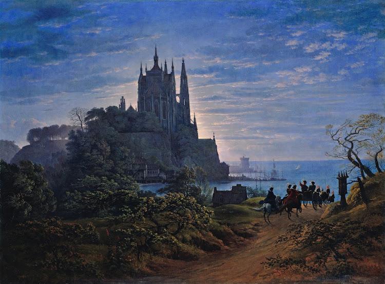 Karl Friedrich Schinkel - Gotische Kirche auf einem Felsen am Meer (c.1815)