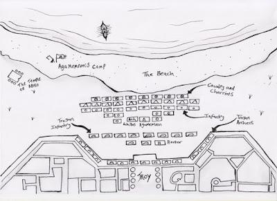 The beach landing of Agamemnon