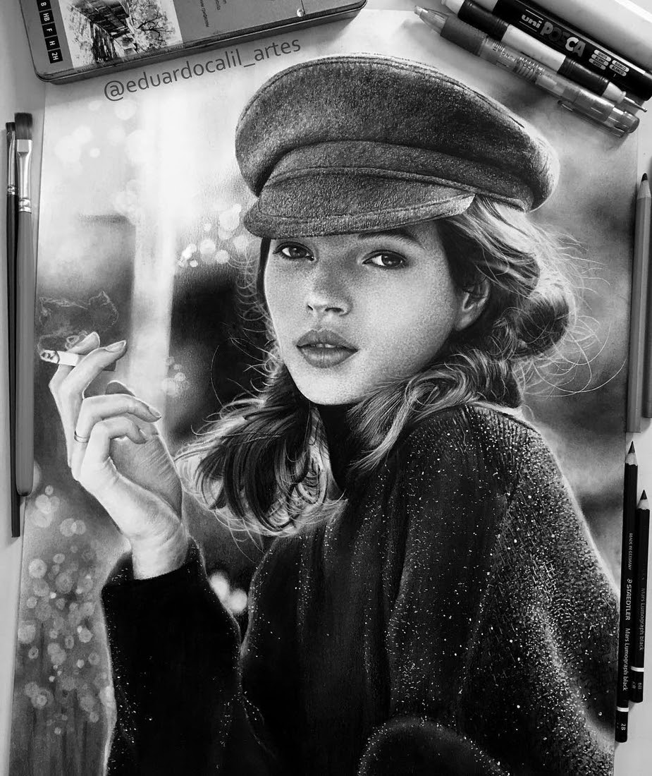 09-Kate-Moss-Eduardo-Calil-Celebrity-Portrait-Drawings-Color-and-Black-and-White-www-designstack-co