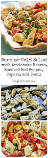 Warm or Cold Salad with Artichoke Hearts, Roasted Red Pepper, Capers, and Basil (Low-Carb, Vegan, Paleo) [from KalynsKitchen.com]