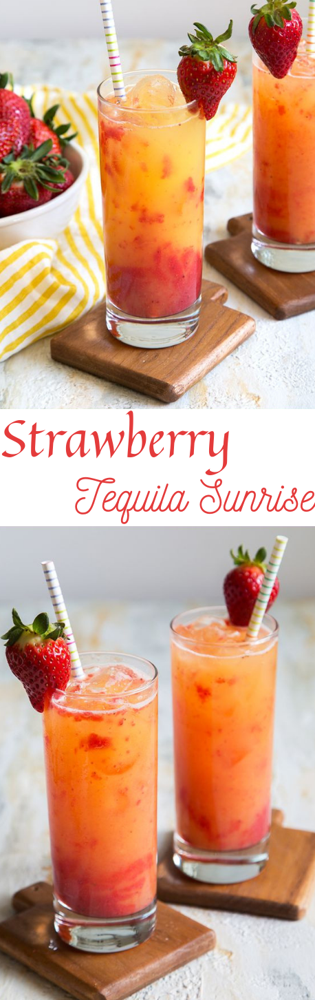 STRAWBERRY TEQUILA SUNRISE #healthydrink #cocktail