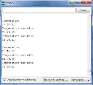 Temperatura mostrada por el monitor serial.