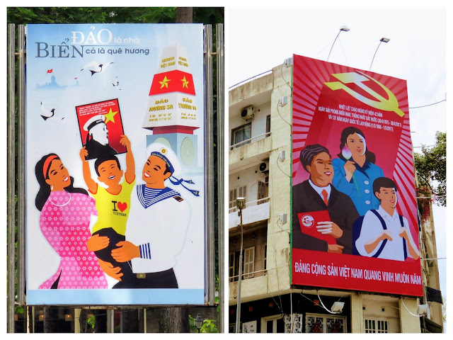 Nationalistic signs in Ho Chi Minh City Vietnam
