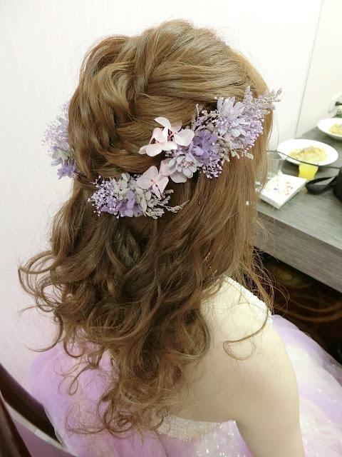 乾燥花造型 | 不凋花造型 | 粉紫色禮服 | 敬酒造型 | 送客造型 | 放下來的浪漫捲髮
