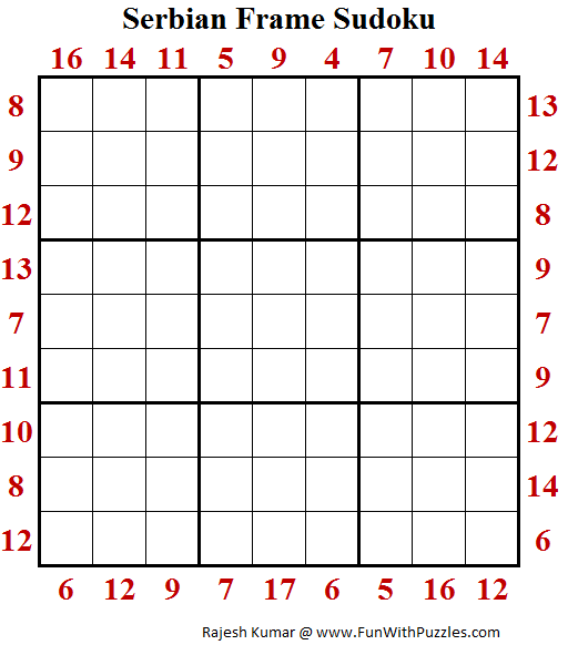 Serbian Frame Sudoku (Puzzles for Adults)