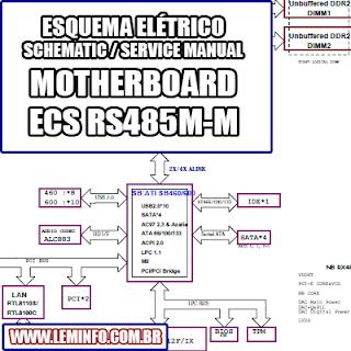 Esquema Elétrico Placa Mãe / Motherboard ECS RS485M-M Manual de Serviço  Service Manual schematic Diagram Placa Mãe / Motherboard ECS RS485M-M    Esquematico Placa Mãe / Motherboard ECS RS485 M M