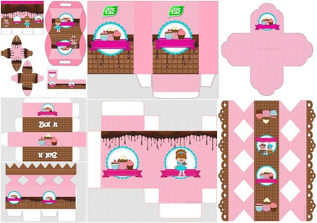 Chicas Haciendo Cupcakes: Cajas para Imprimir Gratis.