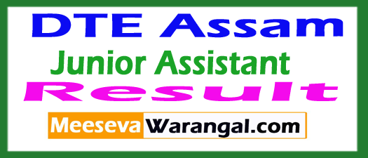 DTE Assam Junior Assistant Result 2017