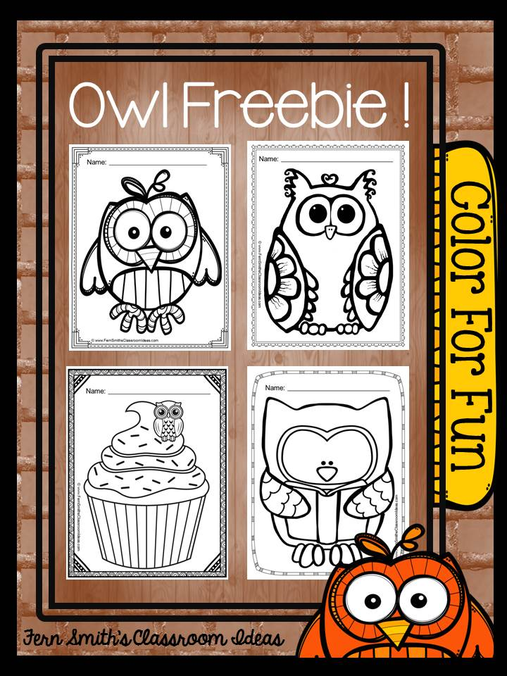 Fern Smith's Classroom Ideas: Tuesday Teacher Tips: Can't Celebrate Halloween At School? Throw an Owl Party Instead! FREE Color For Fun Owl Printable Coloring pages at Owl-ways Be Inspired