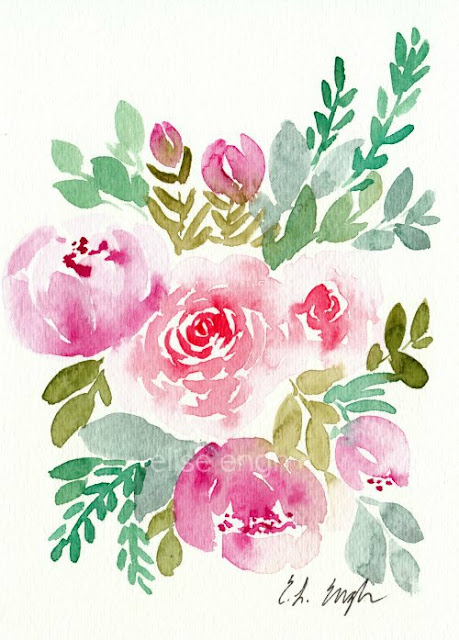 loose watercolor flowers painting by Elise Engh
