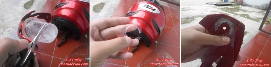 Cara Memperbaiki Kaca Helm yang Kendor pakai akua gelas