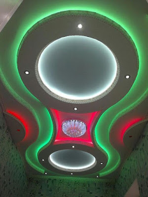 false ceiling gypsum board design ideas with colored indirect lighting
