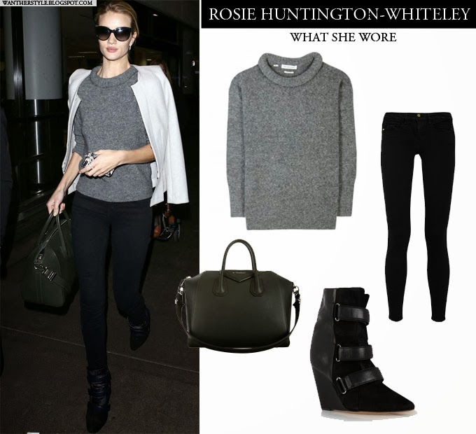 e8337e093b4 WHAT SHE WORE  Rosie Huntington-Whiteley in grey knit sweater
