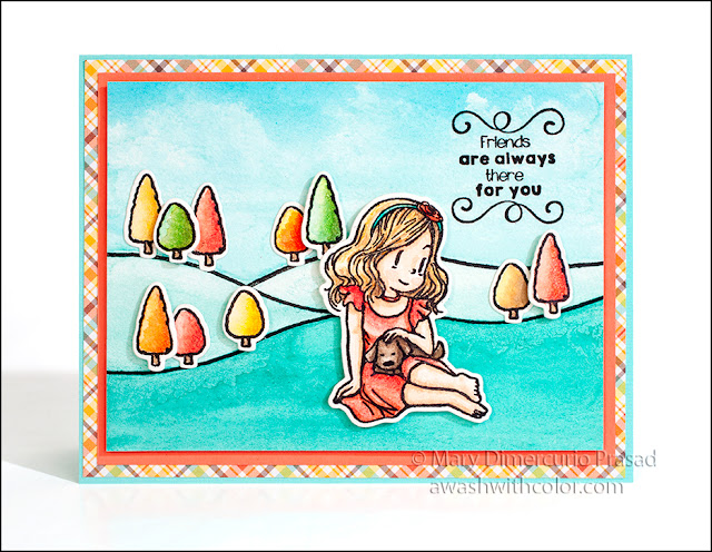 Dreamerland Crafts stamp, Lawn Fawn paper, Faber-Castell, Watercolor Card