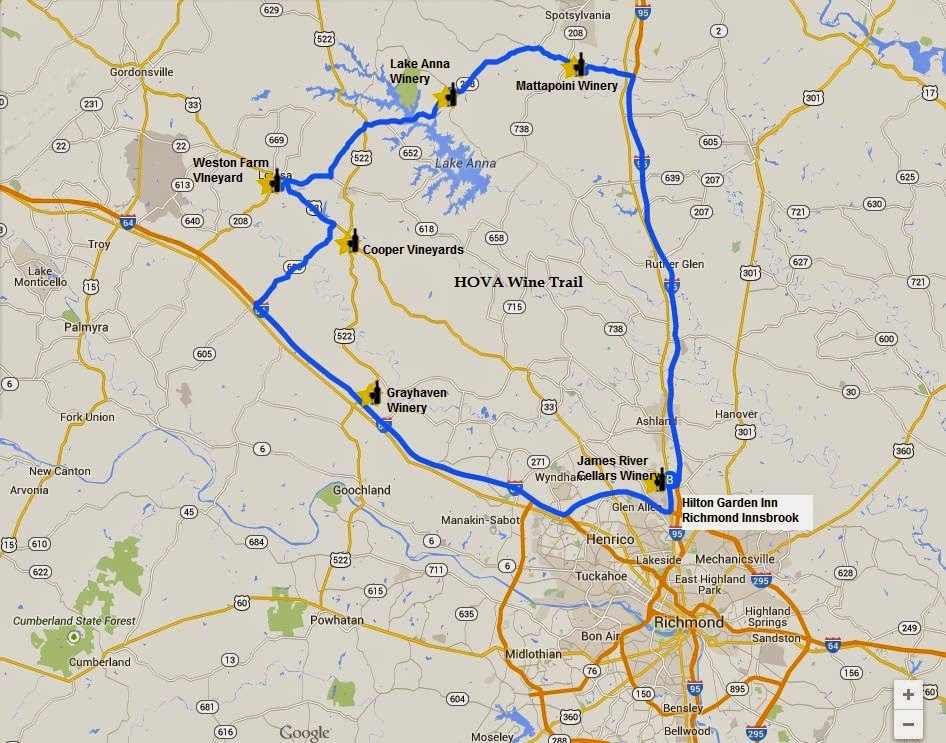 Heart of Virginia Wine Trail and HOVA Wine Trail Hotel map