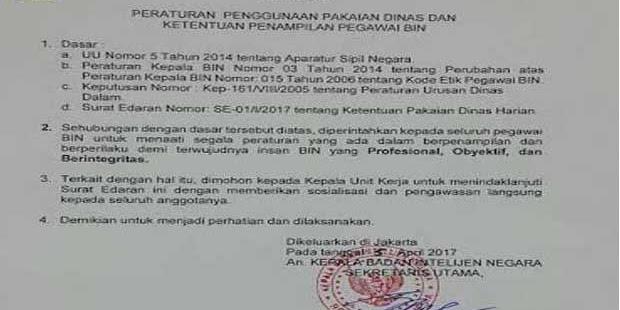 BIN Klarifikasi Larang Pegawainya Berjanggut dan Bercelana Cingkrang