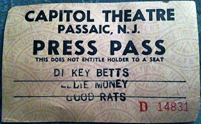 The Good Rats ticket stub opening up for Dickey Betts & Eddie Money at The Capitol Theatre
