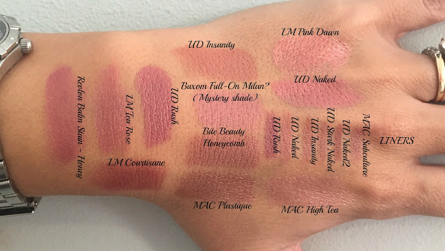 shade of lipsticks swatched on hand