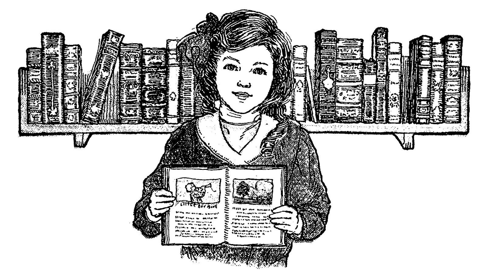 Digital Stamp Design Free Printable Vintage Girl Digital Stamp Doll Baby Carriage Books Reading