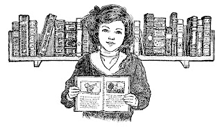 girl books vintage illustration artwork digital stamp image