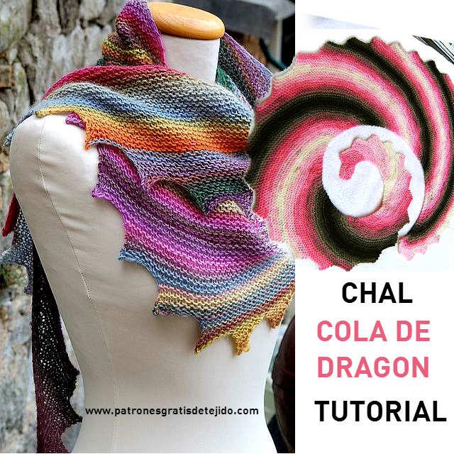 aprender a tejer shawl cola de dragon