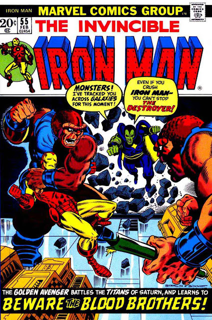 Iron Man v1 #55 marvel comic book cover art by Jim Starlin