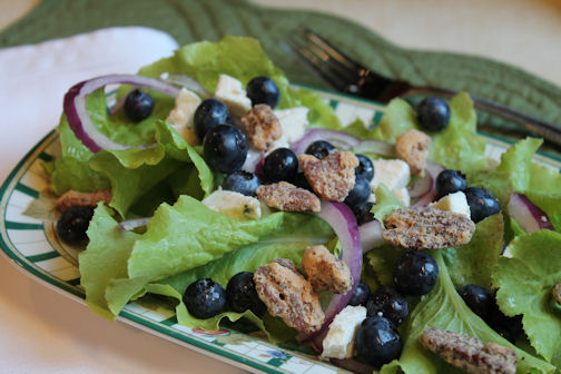 Blueberry, Blue Cheese, and Pecan Salad