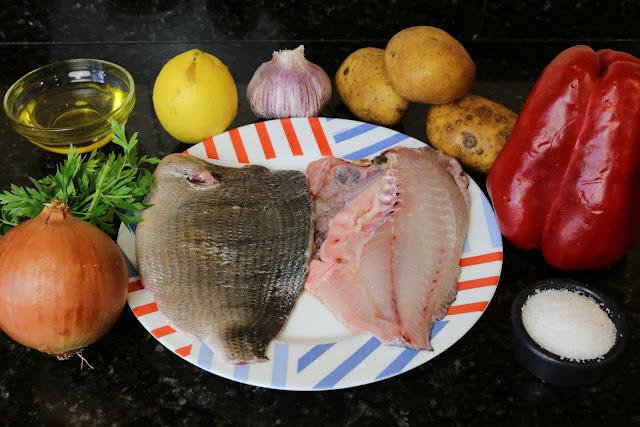 Ingredientes para sargo con verduras al horno