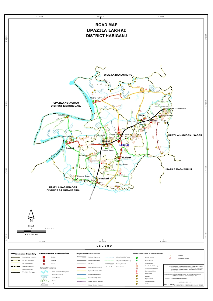 Lakhai Upazila Road Map Habiganj District Bangladesh
