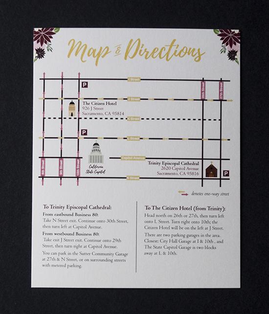 wedding invitations, sacramento wedding, wedding map, wedding directions card