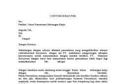 Contoh Surat Pemutusan Hubungan Kerja (PHK)