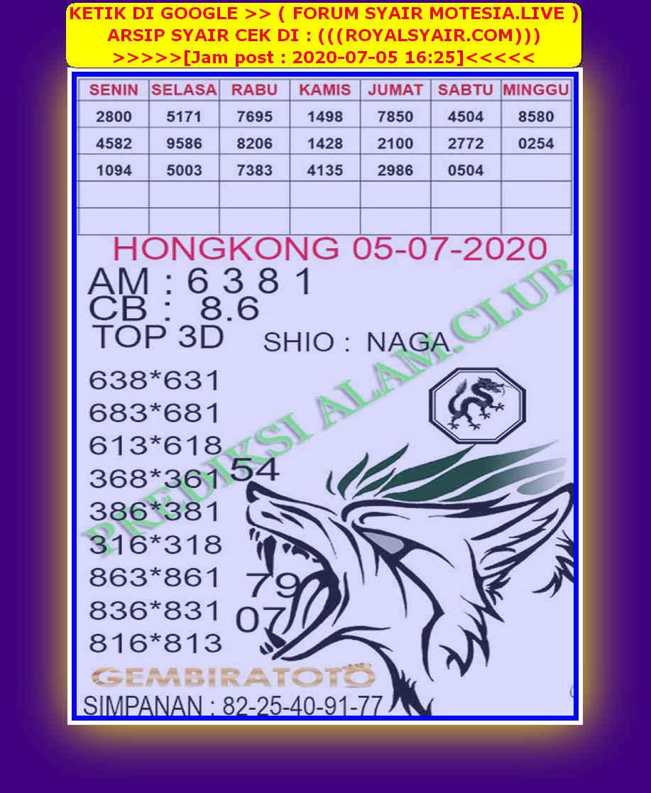 Kode syair Hongkong Minggu 5 Juli 2020 176