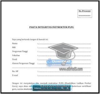 Contoh Format Pakta Integritas Instruktur PLPG Format Words.Doc